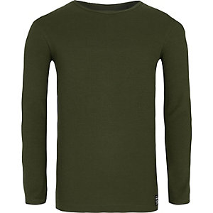Boys khaki green ribbed long sleeve T-shirt