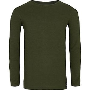 Kakigroen geribbeld T-shirt met lange mouwen voor jongens
