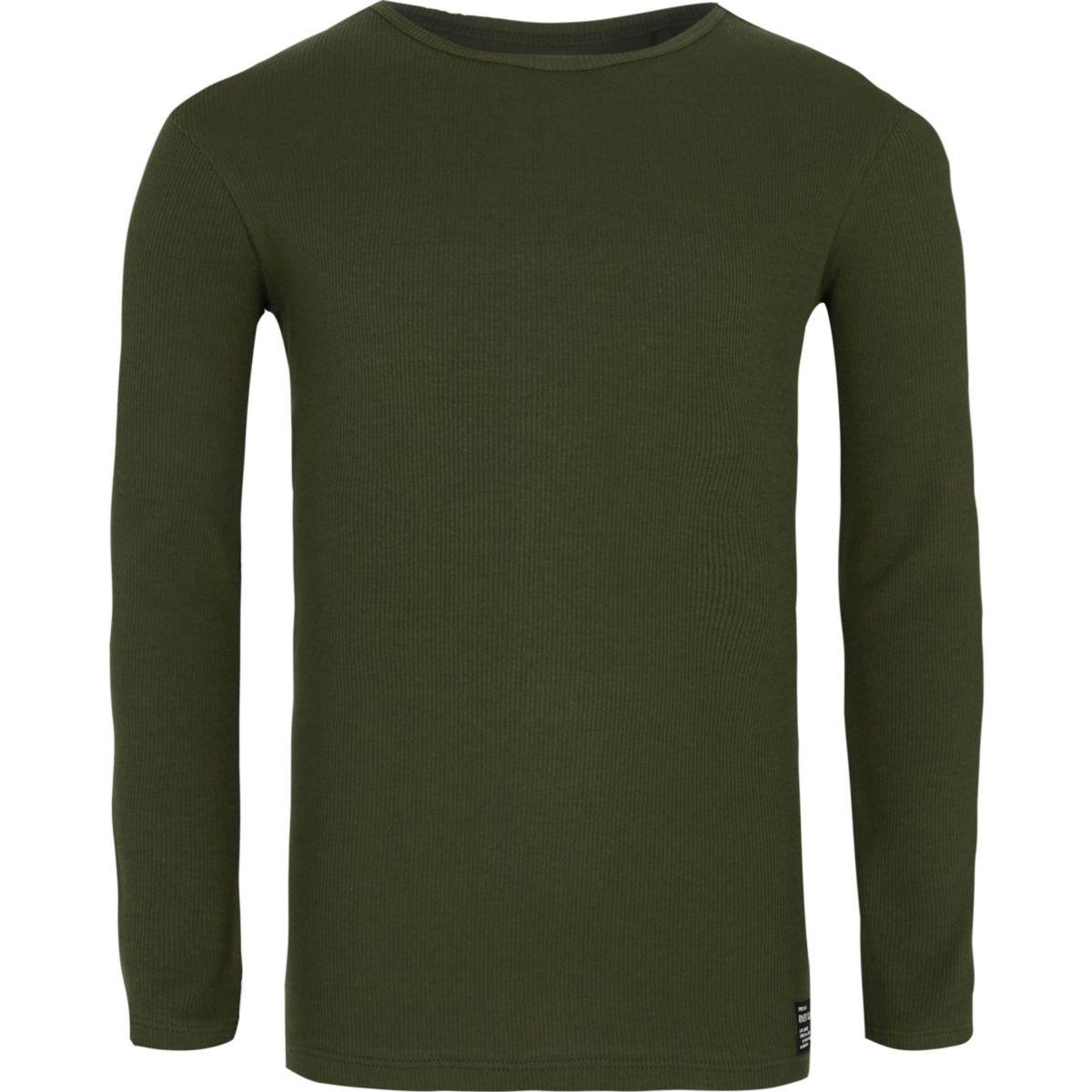 Boys khaki green ribbed long sleeve T-shirt