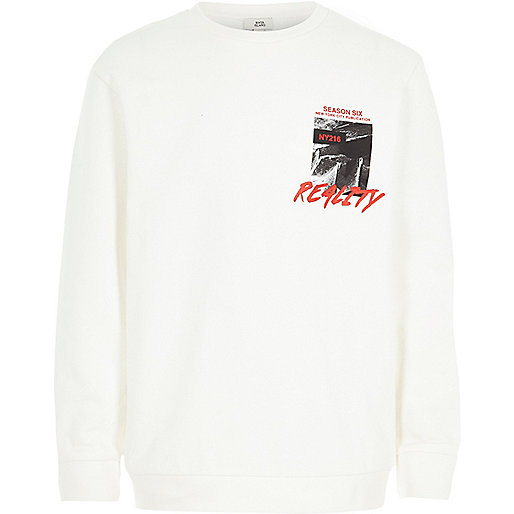 Boys cream 'reality' print sweatshirt