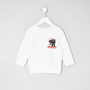 Mini boys cream 'reality' print sweatshirt