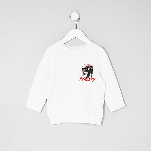 Mini boys cream 'reality' print sweatshirt