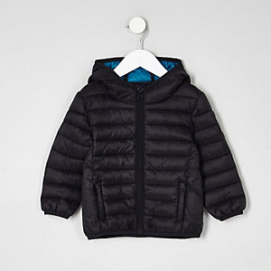 Mini boys black lightweight puffer jacket