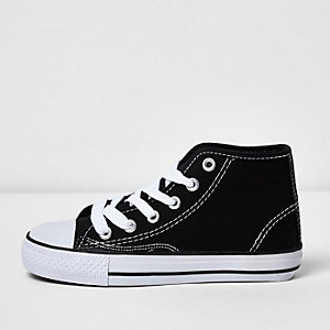Boys black hi top lace-up plimsolls