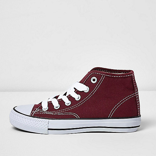 Boys red hi top lace-up plimsolls