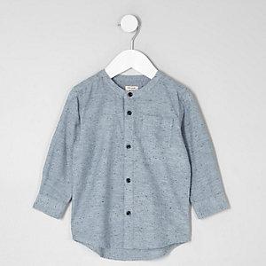 Mini - Lichtblauw overhemd zonder kraag voor jongens