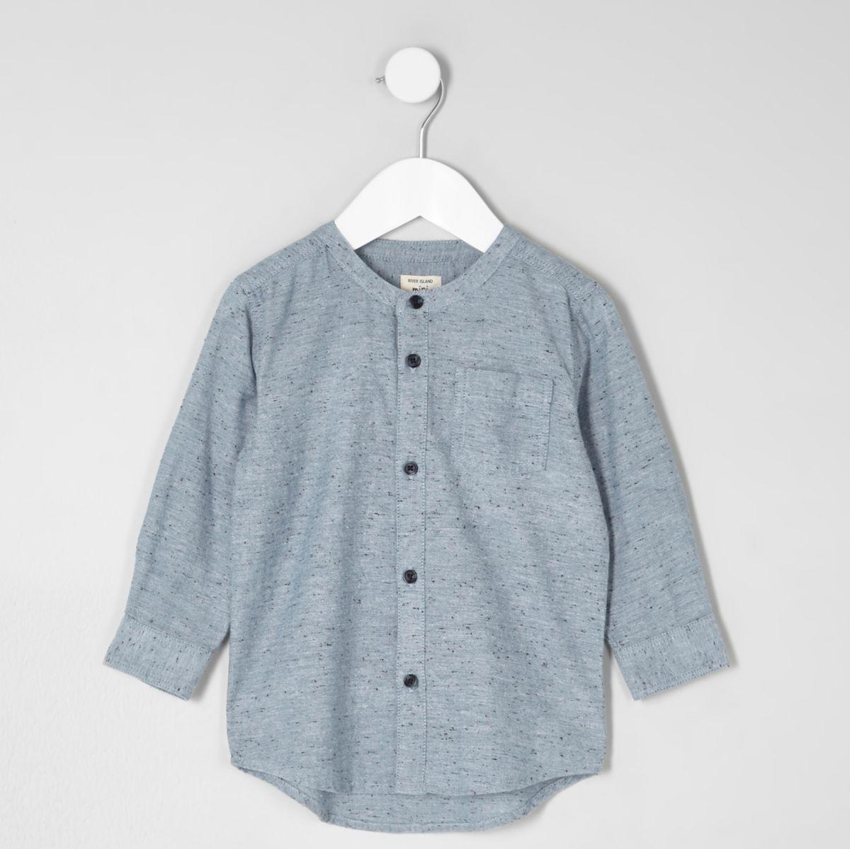 Mini boys light blue grandad shirt