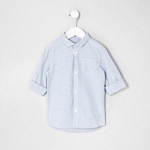 Mini - Blauw gestreept overhemd met opgerolde mouwen voor jongens