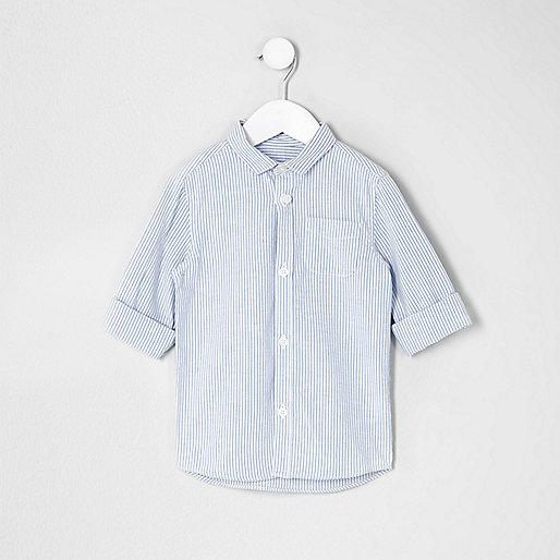 Mini boys blue stripe rolled sleeve shirt