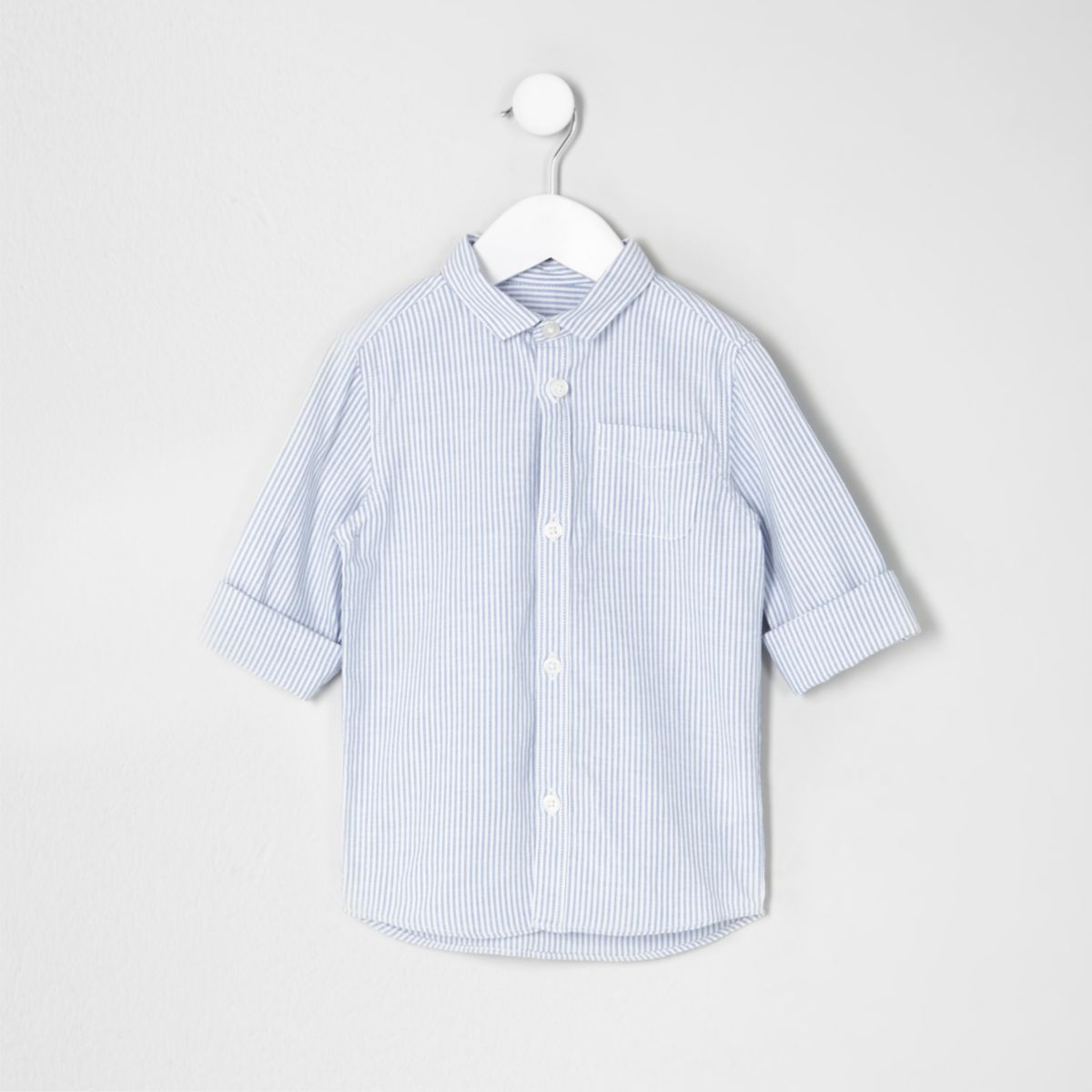 Mini boys blue stripe rolled sleeve shirt