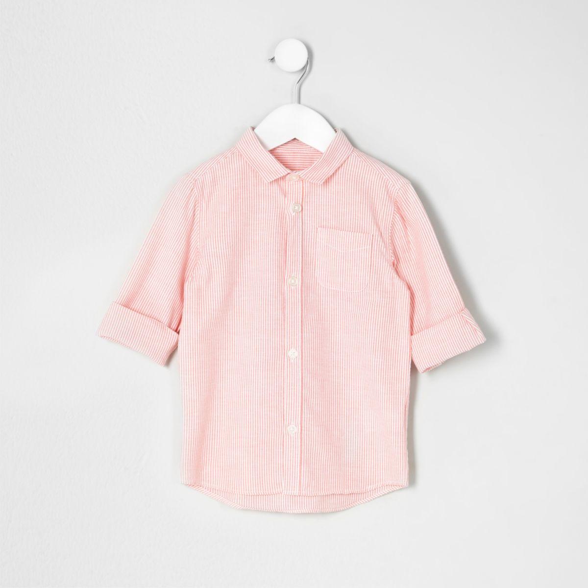 Mini boys orange stripe shirt