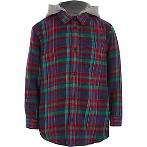 Boys navy multicolour check hooded shirt