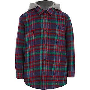 Marineblauw meerkleurig geruit overhemd met capuchon voor jongens