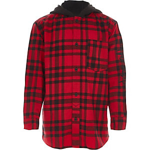 Boys red check jersey hooded shirt