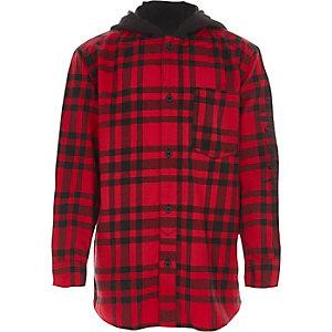 Rood geruit jersey overhemd met capuchon voor jongens