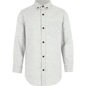 Boys light grey herringbone long sleeve shirt