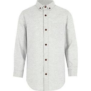 Lichtgrijs overhemd met lange mouwen en visgraatmotief voor jongens