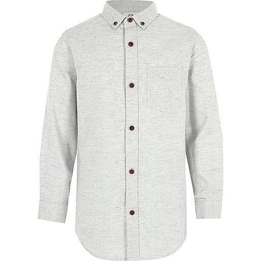 Boys light grey herringbone long sleeve shirt