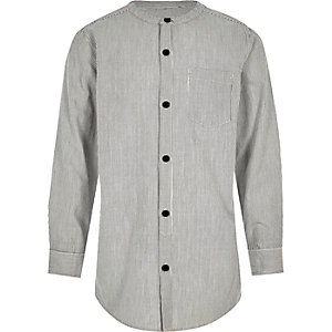 Boys grey stripe long sleeve grandad shirt
