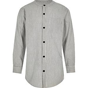 Boys grey stripe long sleeve grandad shirt