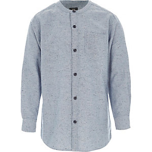 Boys light blue neppy grandad shirt