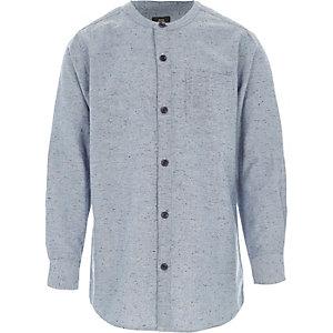Lichtblauw gemêleerd overhemd zonder kraag voor jongens