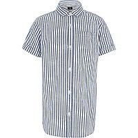 Boys blue stripe short sleeve shirt