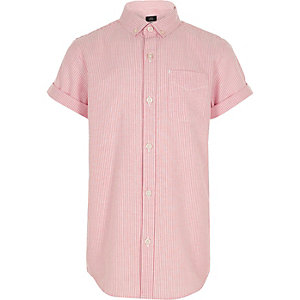 Oranje gestreept overhemd met korte mouwen voor jongens