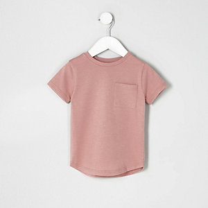Mini boys pink curved hem T-shirt