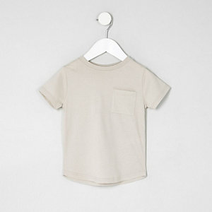 Mini boys stone curved hem pocket T-shirt