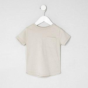 Mini - Kiezelkleurig T-shirt met ronde zoom en zak voor jongens