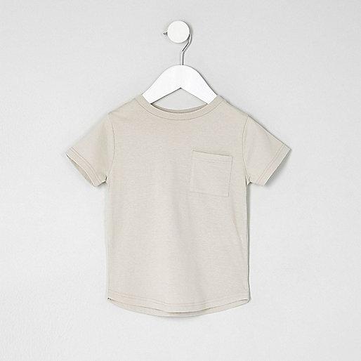 Mini boys stone curved hem pocket T-shirt