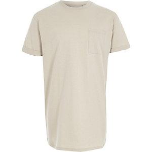 Kiezelkleurig lang T-shirt voor jongens