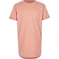 Boys pink curved hem T-shirt