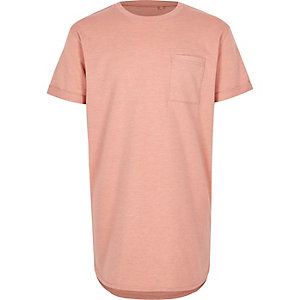 Boys pink curved hem T-shirt