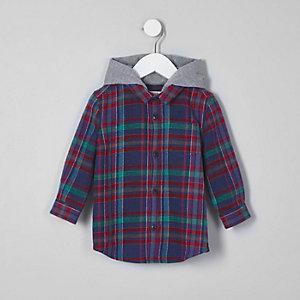 Mini boys blue check hooded shirt