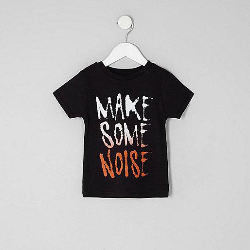 Mini boys black 'make some noise' T-shirt