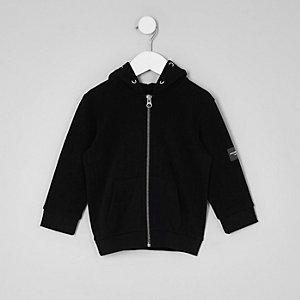 Sweat noir zippé à capuche et manches longues mini garçon