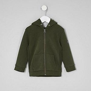 Mini - Kakigroene hoodie met rits voor jongens