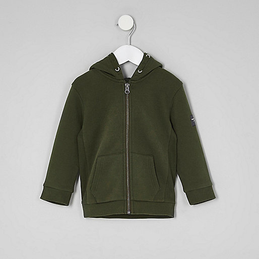 Mini boys khaki green zip up hoodie
