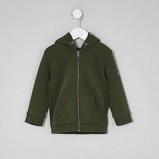 Mini boys khaki green zip up hoodie