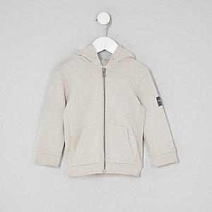 Mini - Kiezelkleurige hoodie met rits voor jongens