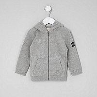 Mini boys grey marl zip up hoodie
