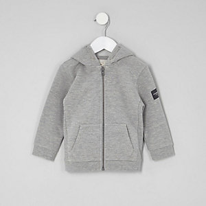 Mini boys grey marl zip up hoodie