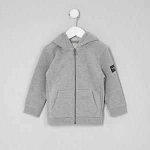 Mini - Grijze gemêleerde hoodie met rits voor jongens