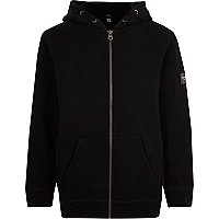 Boys black long sleeve zip up hoodie