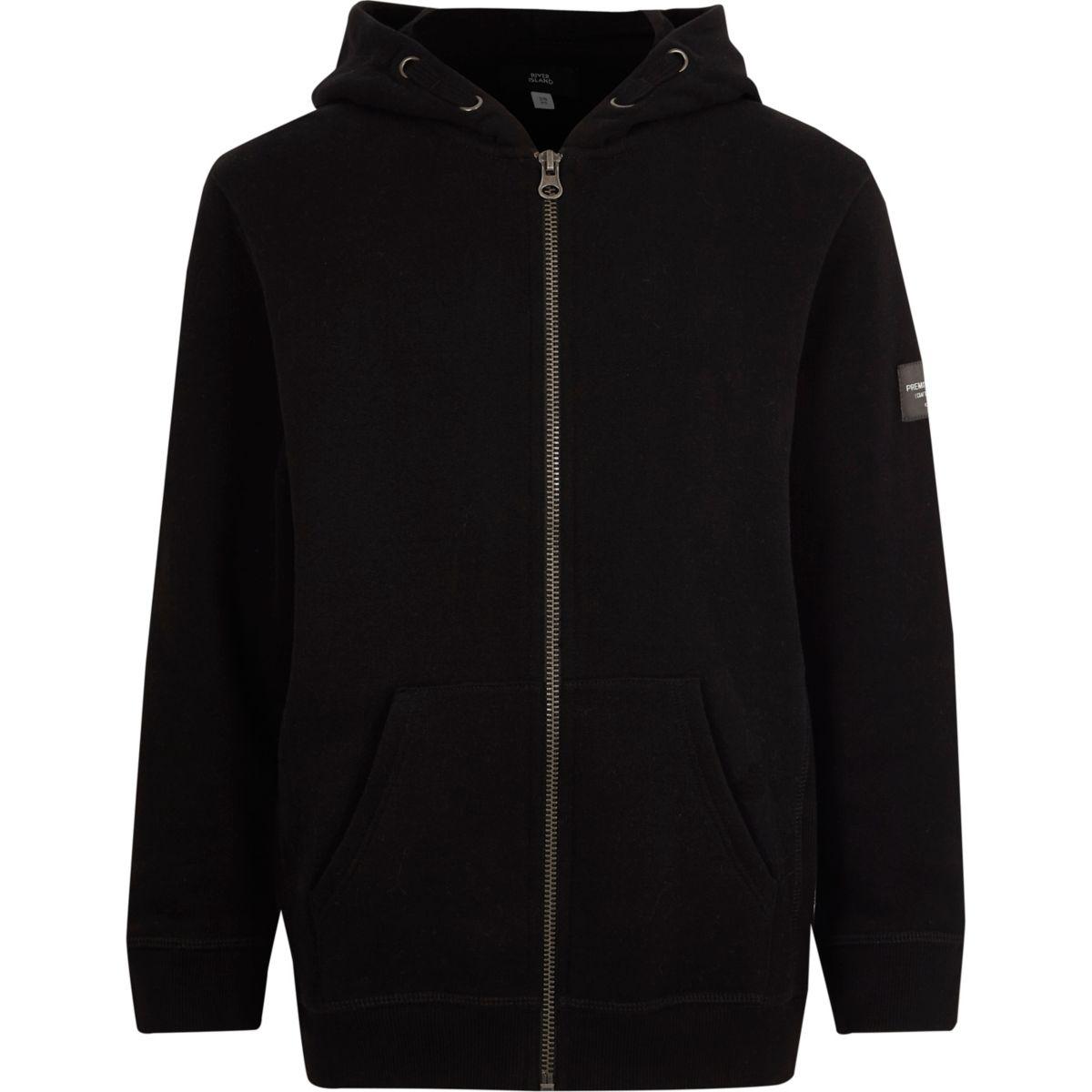 Boys black long sleeve zip up hoodie