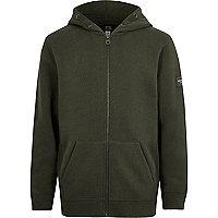 Boys khaki green zip up hoodie