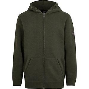 Kakigroene hoodie met rits voor jongens