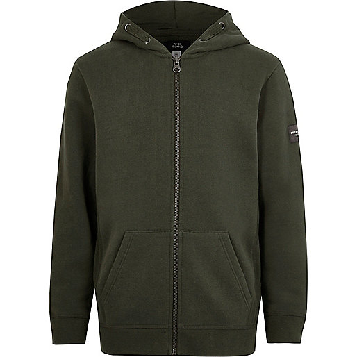 Boys khaki green zip up hoodie